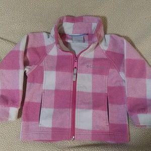 Cute Pink Plaid Columbia Fleece Jacket sz 24 mos